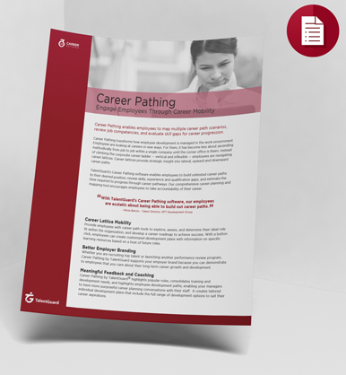 Career Pathing Data sheet TalentGuard
