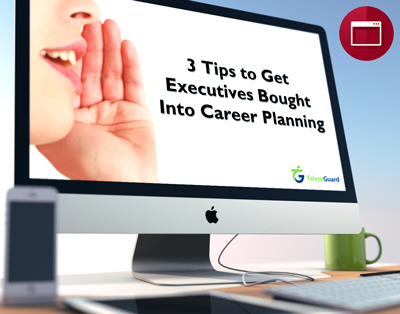 3 Tips to Get Executives Bought Into Career Planning webinar displayed on a apple desktop computer