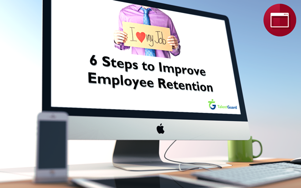 6 Steps to Improve Employee Retention webinar displayed on apple desktop computer