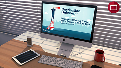 Destination Unknown: Employees Without Career Paths Present a Risk to Your Organization webinar displayed on apple desktop computer