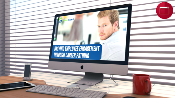 Driving employee engagement webinar displayed on apple desktop computer