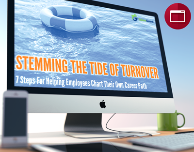 Stemming the Tide of Turnover webinar displayed on apple desktop computer