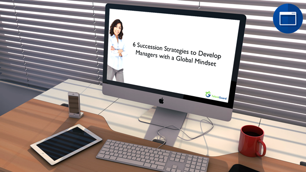 6 Succession Strategies to Develop Managers with a Global Mindset webinar displayed on an apple desktop computer