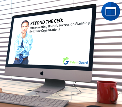 Beyond the CEO: Implementing Holistic Succession Planning for Entire Organizations webinar displayed on an apple desktop computer
