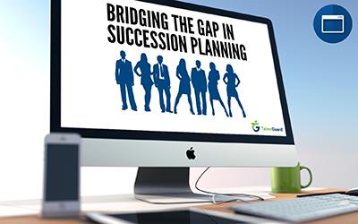 Bridging the Gap in Succession Planning webinar displayed on an apple desktop computer
