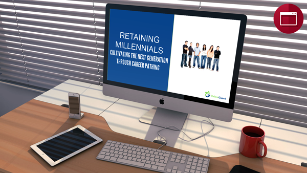 Retaining Millennials: Cultivating the Next Generation Through Career Pathing webinar displayed on apple desktop computer