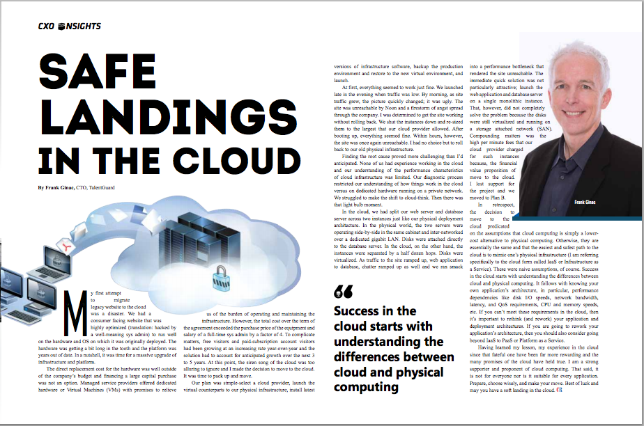 Safe Landings in the Cloud by Frank Ginac featured in CIO Review Magazine