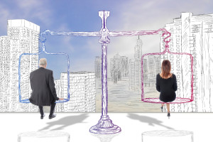 Man and Woman evenly sitting on scale that is pencil drawn looking into the distance of a city that is pencil drawn