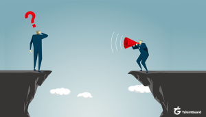 One man standing on the edge of a cliff with a question mark above his head while a man across on another cliff tries to communicate with a megaphone