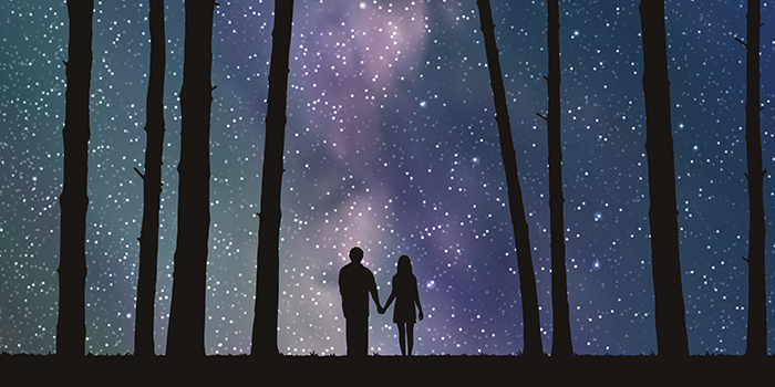 silhouette of boy and girl holding hands in between tall trees looking at a purple sky filled with stars